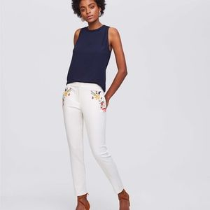 Whisper White Floral Embroidered Riveria Pants 4